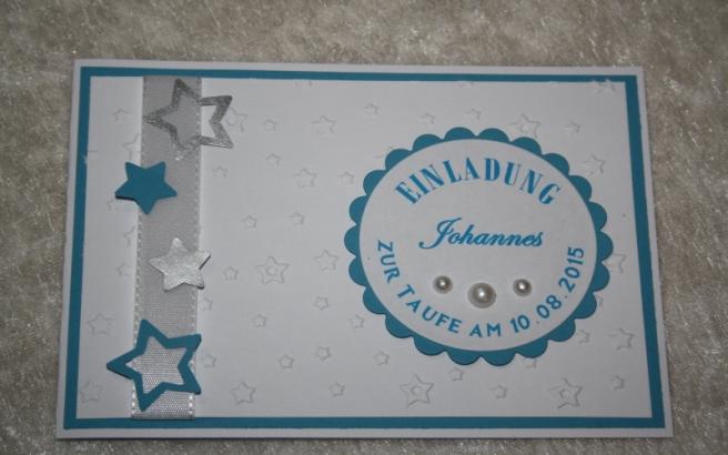 Einladungskarte Zur Taufe Sterne Papier Feder